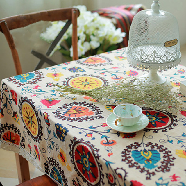 Stain Resistant Sunflower Pattern Dinning Coffee Cotton Linen Dining Room  TableCloth Covering