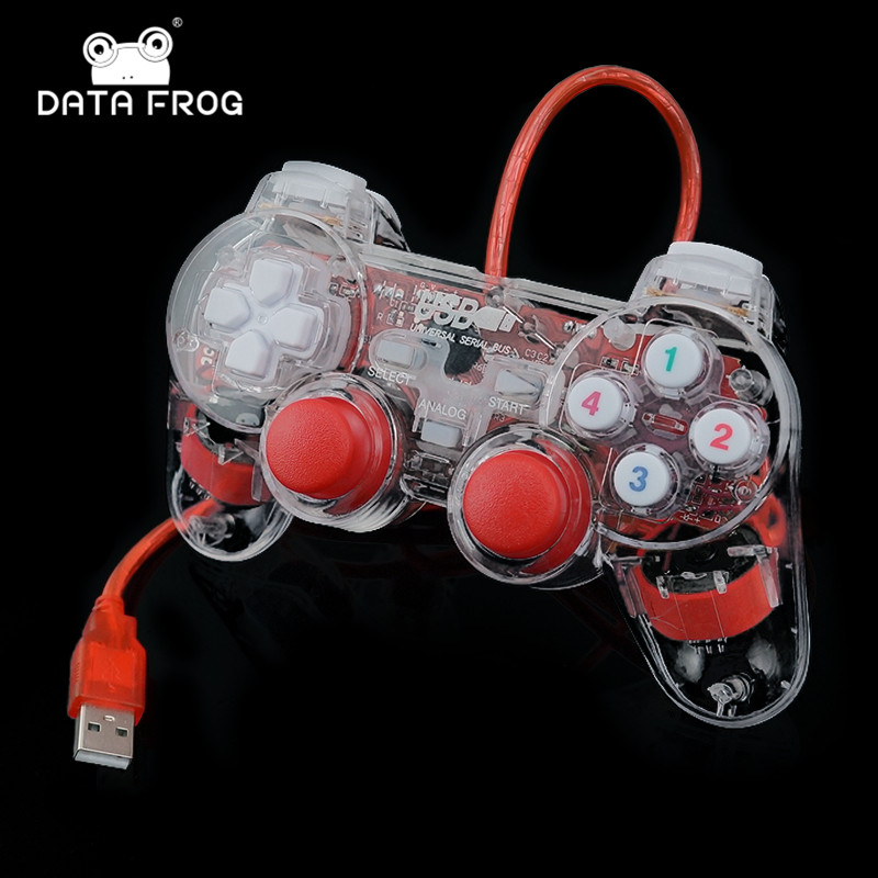 3 Colors Transparent LED Wired USB Gamepad Double Vibration Joystick Game Controller Joypad For PC Laptop For Win7/10/XP Clear цена 2017