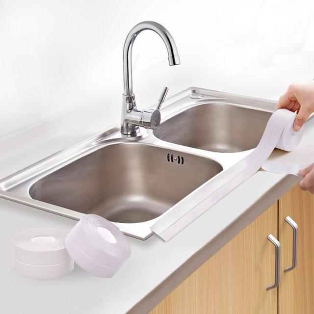 New PE Waterproof Self Adhesive Tub And Wall Sealing Tape Caulk Sealer Kitchen  Caulk Tape Repeatedly