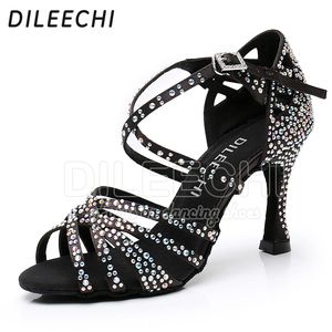 Image 5 - DILEECHI Latin Dance รองเท้าขนาดเล็ก rhinestone Shining Bronze ผิวซาตินสีดำผู้หญิง Salsa PARTY Ballroom รองเท้าคิวบา 9 ซม. ส้นเท้า