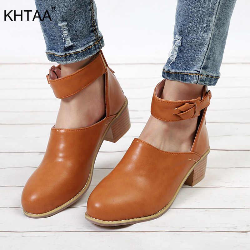 Kadınlar Vintage tıknaz topuk bahar sonbahar yarım çizmeler bayanlar moda taklit süet ayakkabı kadın Zip yüksek kaliteli PU rahat artı boyutu