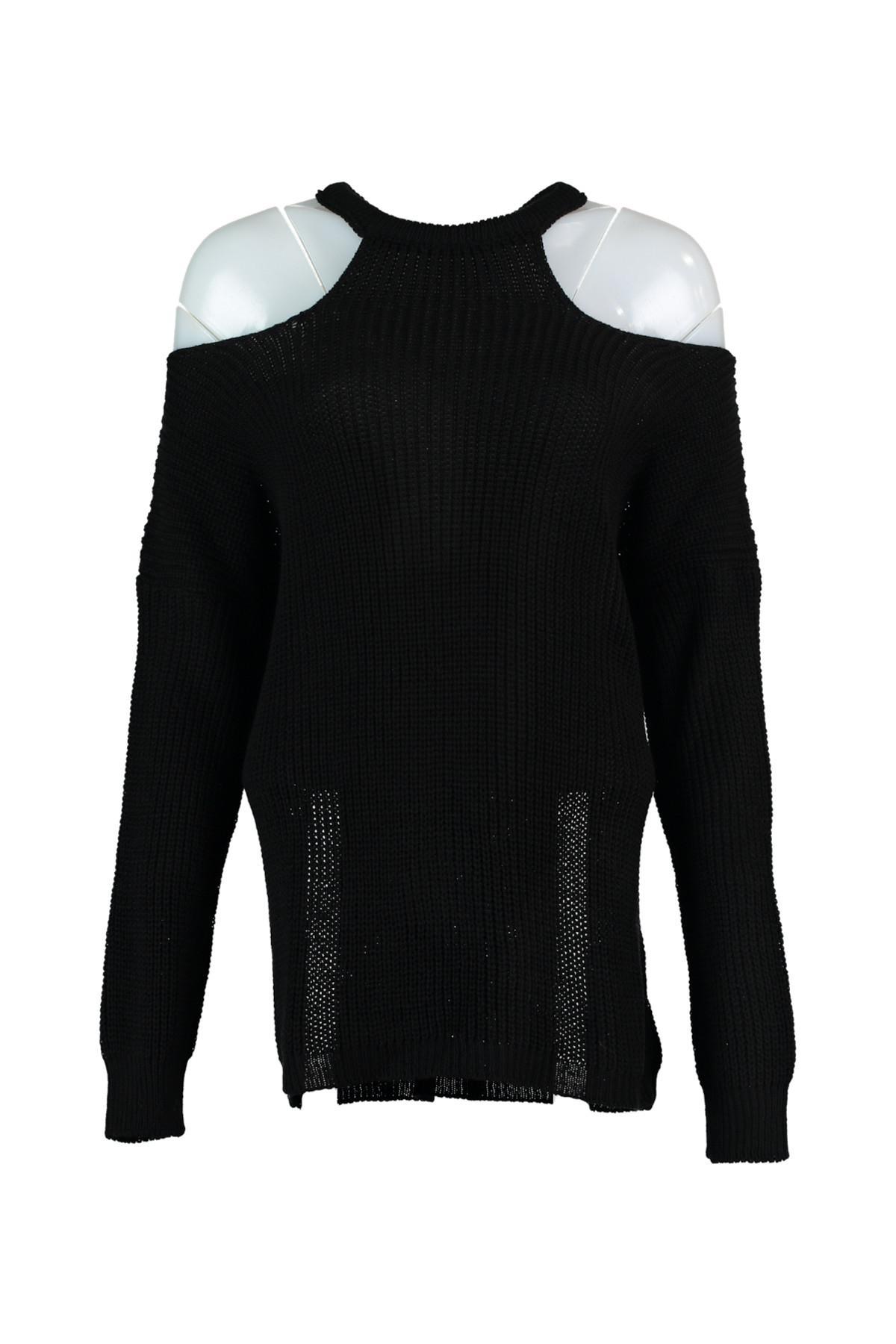 Trendyol WOMEN-Black Cut-Out Detail Sweater Sweater TWOAW20FV0035