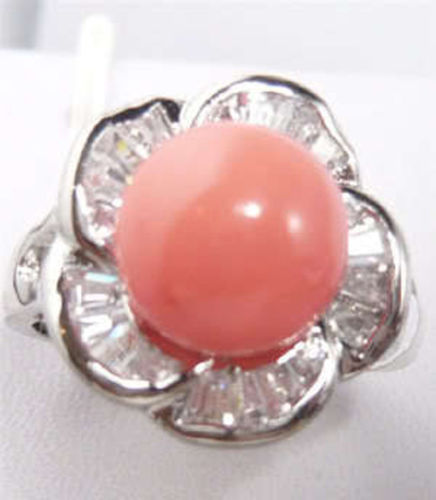 Noblest red silver Selling Charming Noble jewelry Pink Coral Stam Size 6/7/8/9# ladys wedding jewelry rings