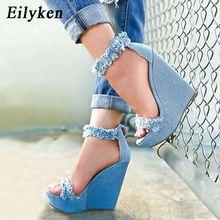 Eilyken 2020 ออกแบบใหม่ DENIM รองเท้าแตะรองเท้าแตะโรมันฤดูร้อนคุณภาพสูง Wedges รองเท้าส้นสูง Peep Toe Platform รองเท้าผู้หญิง