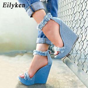 Image 1 - Eilyken 2020 New Designer Denim Sandals Summer Roman Sandals High Quality Wedges High Heels Peep Toe Platform Shoes Woman