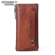 本革メンズクラッチハンドメイドレトロ電話財布多機能男性財布100% 牛革ヴィンテージ男性のクレジットカード財布