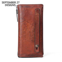 Prawdziwej skóry mężczyzn sprzęgła ręcznie telefon w stylu Retro portfel wielofunkcyjny mężczyzna portfele 100% wołowej rocznika męska portfele na karty kredytowe