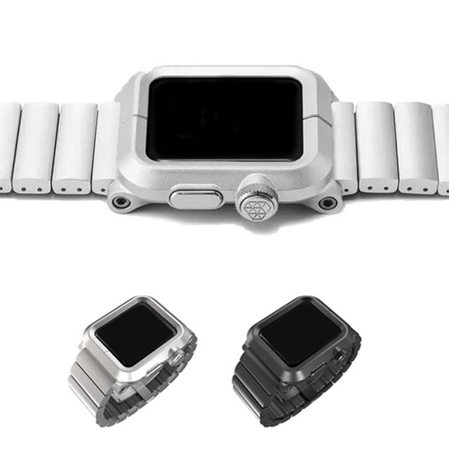 Urvoi epik caso completo para apple watch band correa para iwatch protector de aluminio de aleación de hebilla de metal para el Estándar de metal clip
