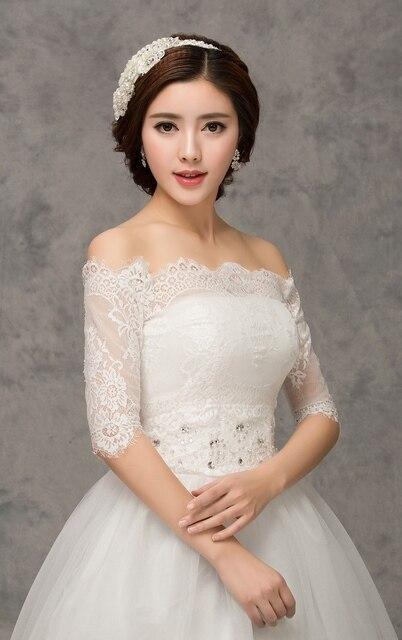 fb03737c6b10 White Lace Wedding Jacket With Short Sleeves Off Shoulder lace bolero  Bridal jackets Laced-up Closure