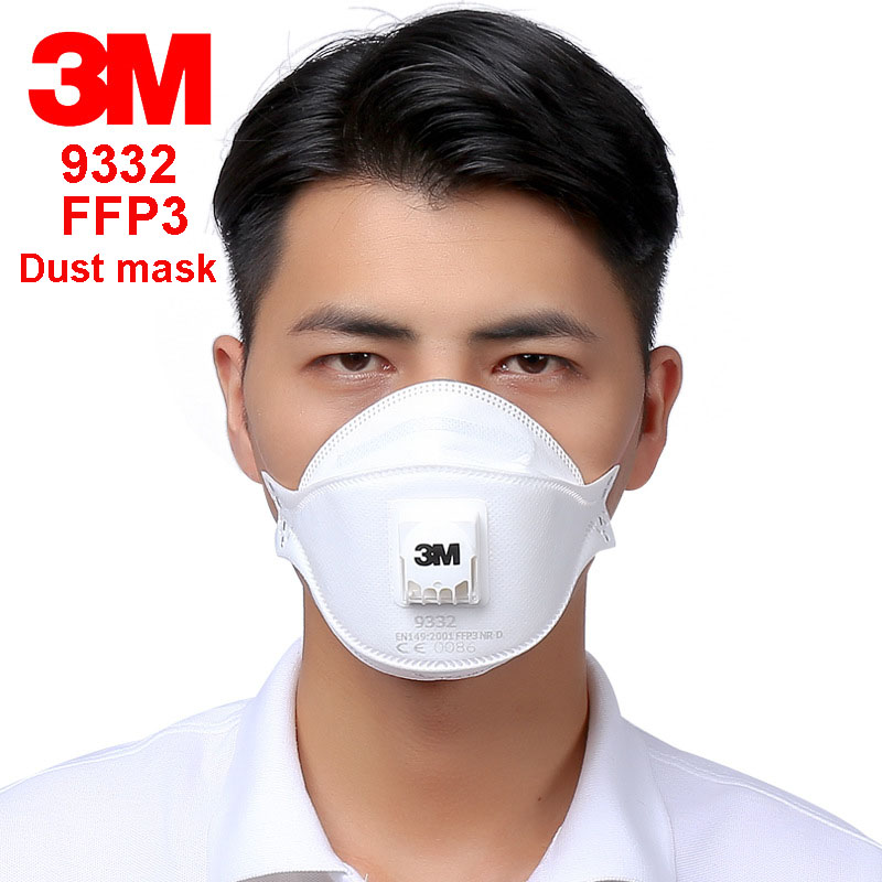 3M 9332 FFP3 respirator dust mask Folding Cold flow valve respirator mask For particles dust flu virus N99 filter mask 3m 9332 ffp3 respirator dust mask folding cold flow valve respirator mask for particles dust flu virus n99 filter mask