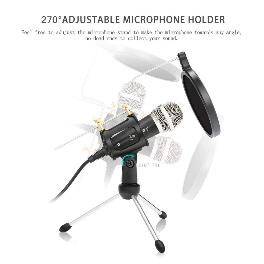 lowest price Lefon recording Condenser Microphone mobile phone microphone 3 5mm Jack microfone for Computer PC Karaoke mic for iphone Android