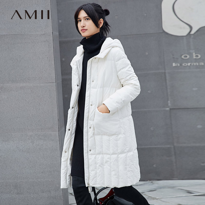 Amii Women 2018 Winter Zippers 90% White Duck   Down     Coat   Hoodies Female Fashion Light Jacket   Coats