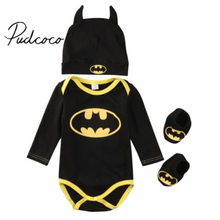 2016 baby Boys clothes Set Cool Batman Newborn Infant Baby Boys Romper+Shoes+Hat 3pcs Outfits Set Clothes(China)
