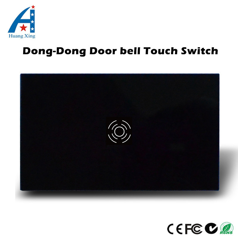 HUANGXING ,US Standard Wall Touch Ding-Dong Doorbell Switch+With LED indicator, Black/White Crystal glass panel, 240V 100W us standard touch remote control light switch 3gang1way black pearl crystal glass wall switch with led indicator mg us01rc
