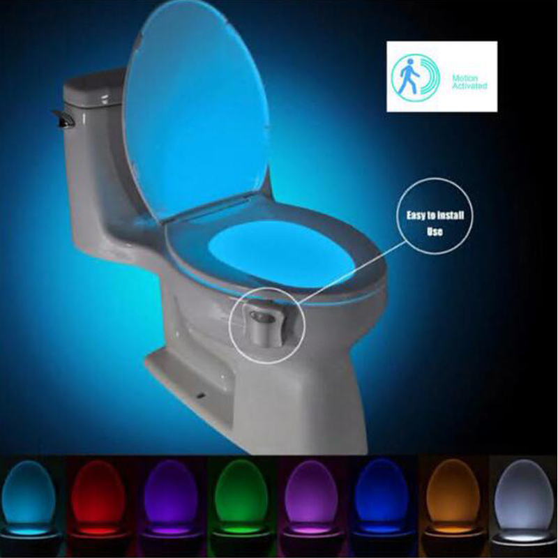 SOLLED Motion Activated Toilet LED Night Light  Seat Nightlight Sensor Lamp 8-Color Changing
