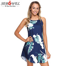 SEBOWEL Print Floral Sleeveless Boho Sundress Dresses Woman Summer Female Flower Pattern Navy Pink Casual Spaghetti Strap Dress