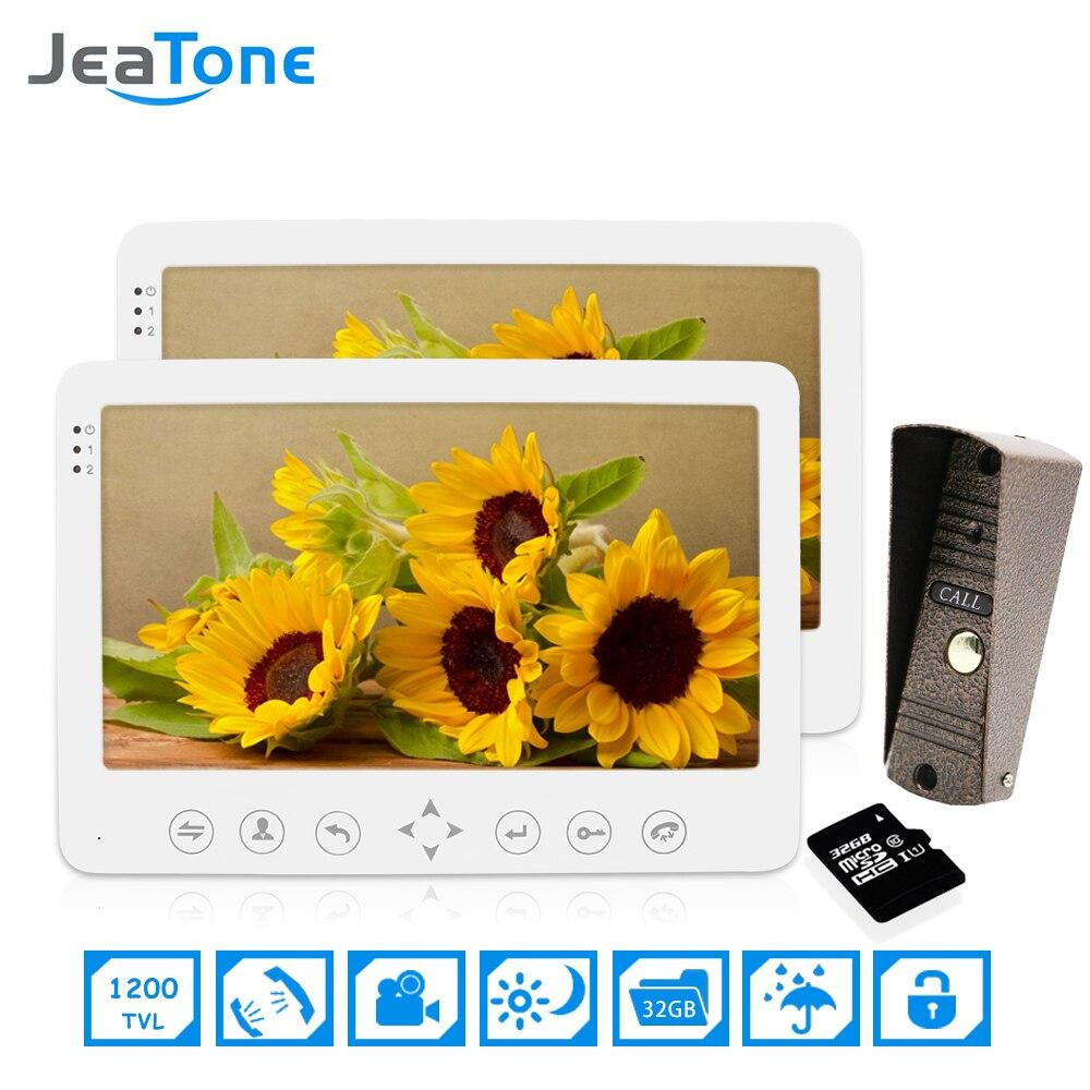 1 Doorphone Camera To 2 Monitor + 32G SD Card 7 Inch Home Security Intercom Kit For 2 Floors Video Door Phone Doorbell