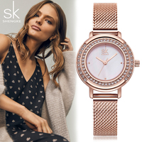 SK Shengke New Women Quartz Watch Crystal Dial S Ladies Top Brand Luxury Gold Dress Female