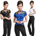 2015 Free Shipping Summer Style Fashion Service Uniform Women Work Wear For Front Desk With High Quality