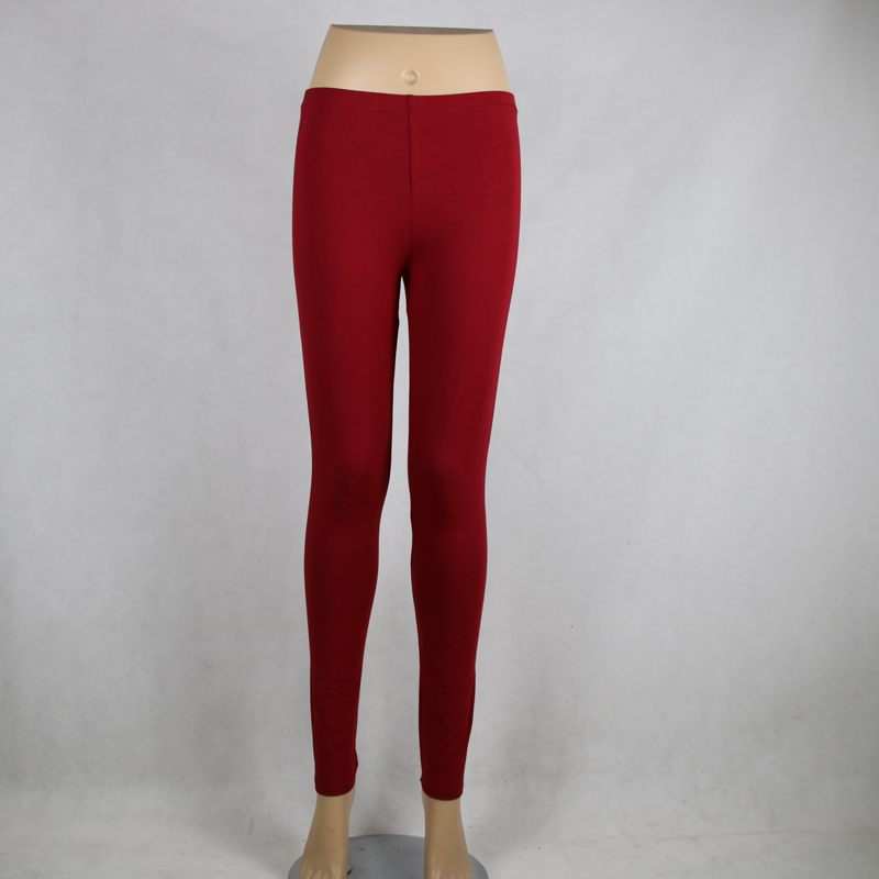 Shikoroleva 2019 Solid Color Red Leggings Xs- 7xl Women Modal Cotton Elastic Skinny Jeggings Pants Red Girl 6XL 5XL Leg Pants