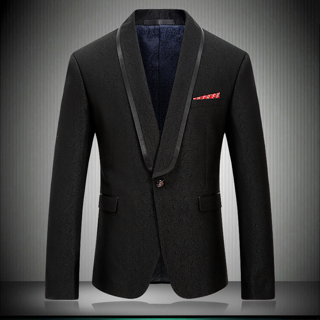 2018 New Arrival Men Blazer Casual Suit Jacket Stylish Solid Black Shawl Collar Wedding Men Stage Wear Tuxedos Jakcet 8667