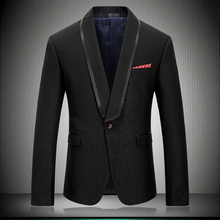 2019 New Arrival Men Blazer Casual Suit Jacket Stylish Solid Black Shawl Collar Wedding Stage Wear Tuxedos Jakcet 8667
