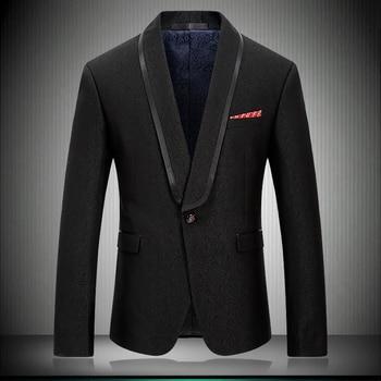 2019 New Arrival Men Blazer Casual Suit Jacket Stylish Solid Black Shawl Collar Wedding Men Stage Wear Tuxedos Jakcet 8667