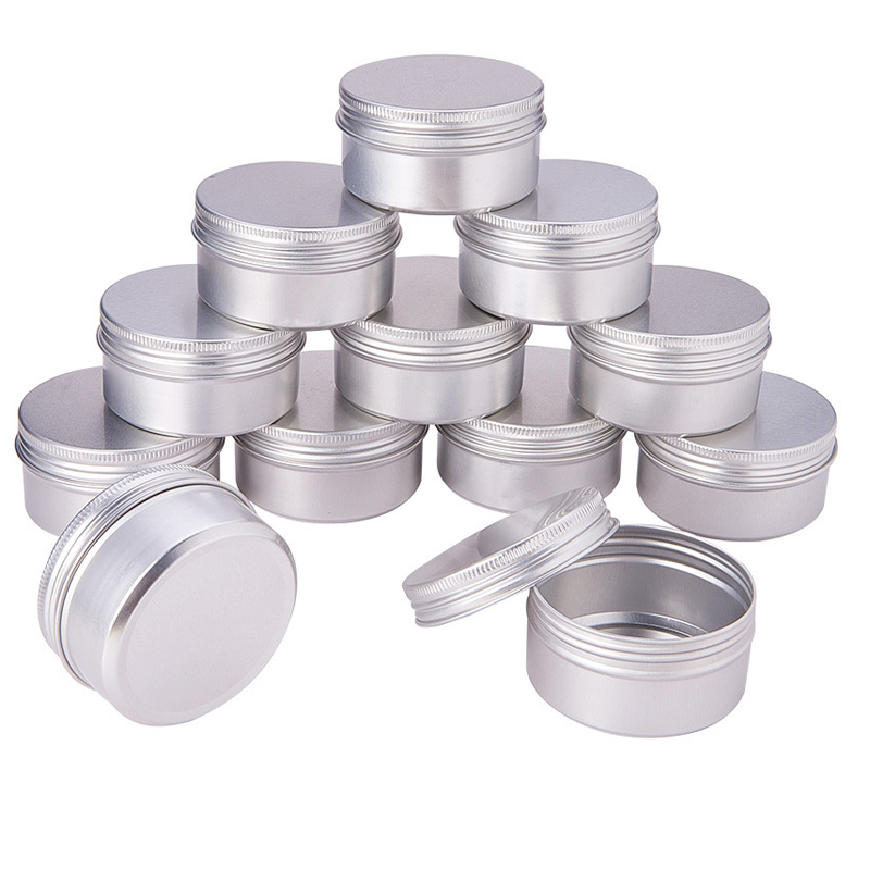100PCS 5g 10g 15g 20g 30g 40g 50g 60g Aluminum Tin Jars Metal 50ml Empty Cosmetic Face Care Eye Cream Lip Balm Gloss Packaging
