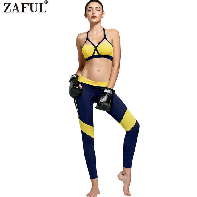 0d3cc41f4c ZAFUL Women Sexy Sport Yoga Set 2 Pieces Color Block Sport Suits Gym  Fitness Workout Clothing
