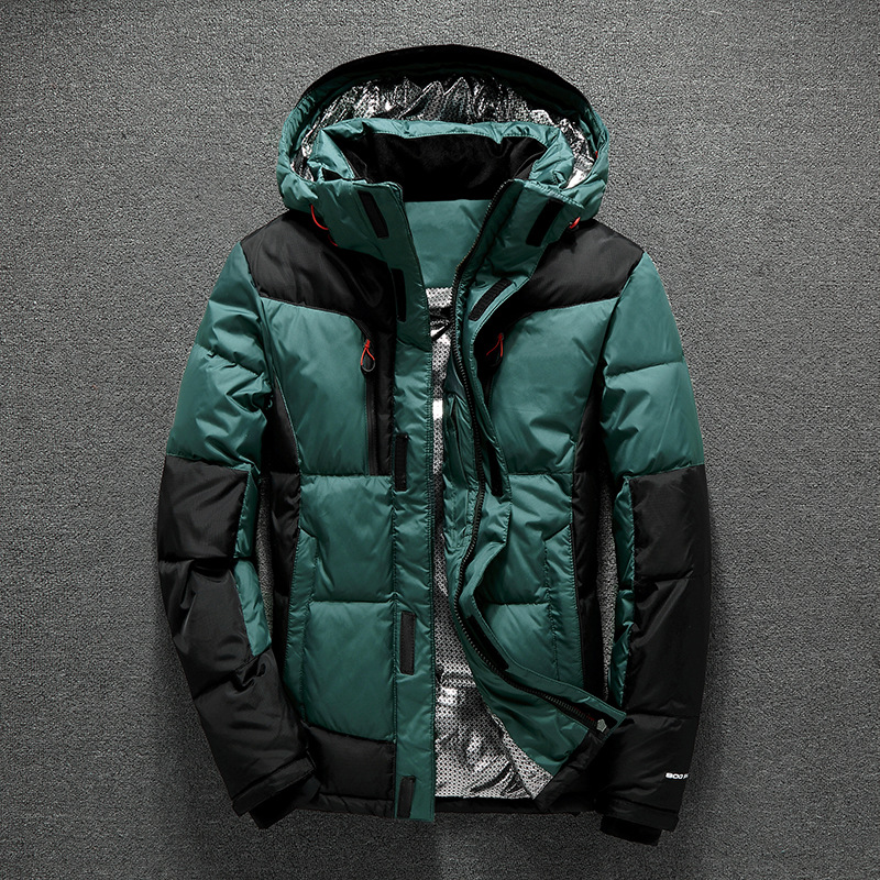 2017 Winter Men Down Coat Thick Warm Long Sleeve Male Down Jacket with Cap Brand Men's Clothing 30 Degrees