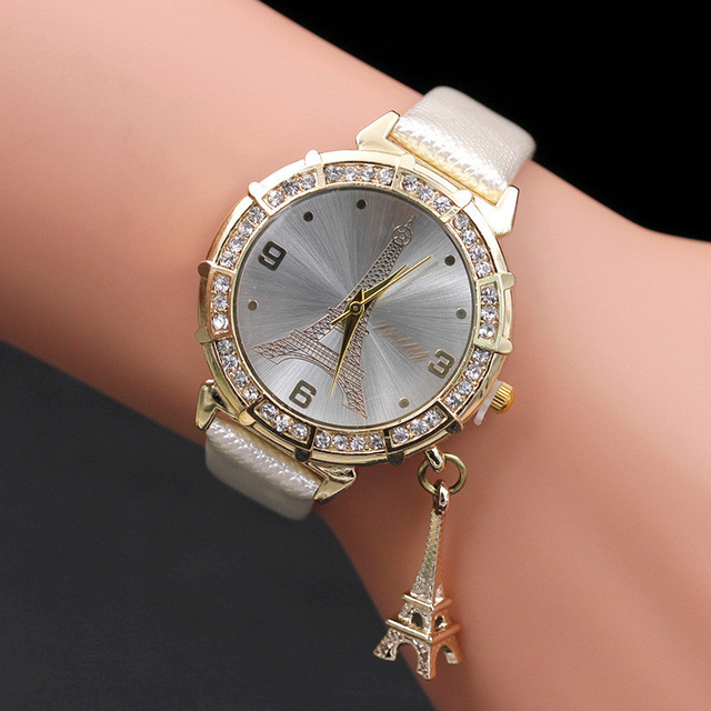 2018 New Arrival Hot Sale Paris Eiffel Tower Women Lady Girl Faux Leather Quartz