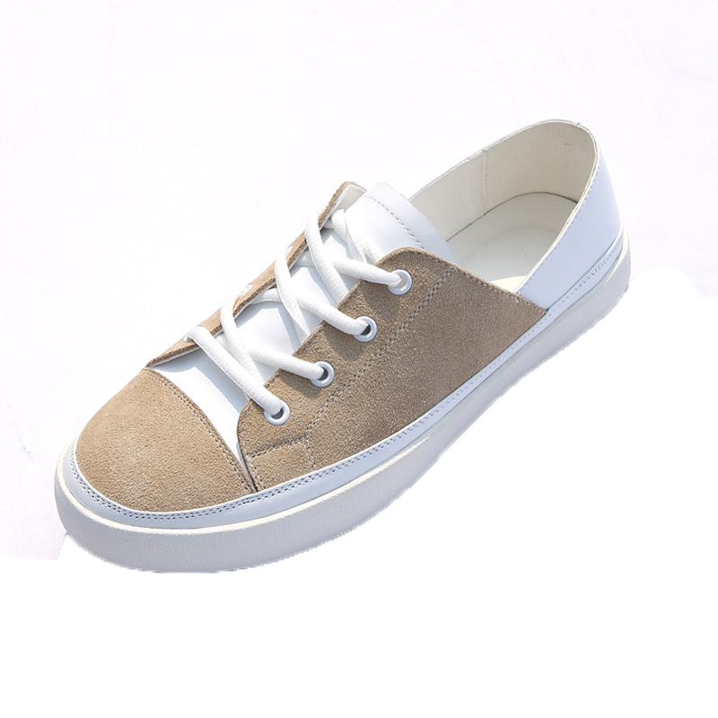 2017 New Style Men Breathable Lace-Up Round Toe Casual Loafers Tide Fashion Han Edition White, Khaki Men Low Help Leather Shoes