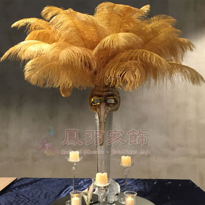 Ostrich feathers Wholesale discount gold ostrich feathers 12 14 inch 100PCS pieces wedding party dress headdress