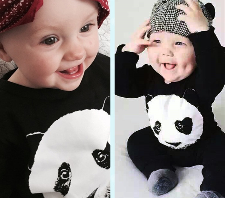 79e34bf8719b Long Sleeve Baby Romper Panda Baby Jumpsuit New Born Baby Boy ...
