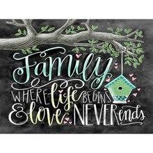 Diamond Painting Square/Round Daimond Chalkboard Drawing Family Text Card ArtMosaic Rhinestone Embroidery