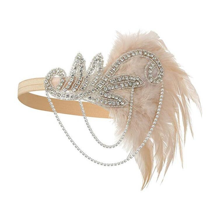 Costume Props Charleston Costume Accessories Silver 1920's Headband Flapper Headpiece Great Gatsby Feather Beaded Headband Chain