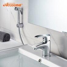Accoona раковина хромированный полированный кран твердая латунная ванная с Одной ручкой раковина смеситель кран с душевой головкой на бортике A9203