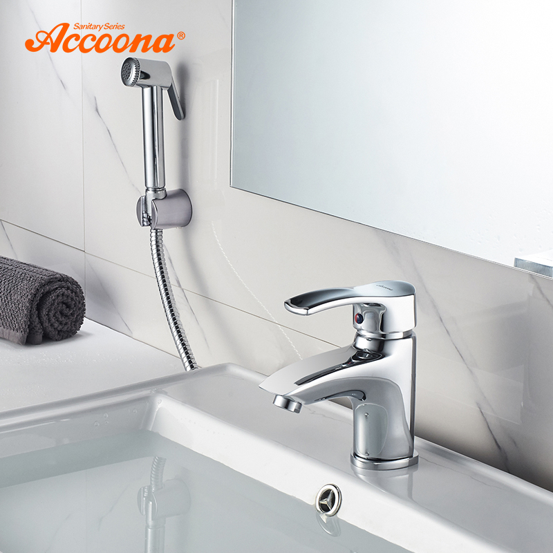 Accoona Basin Faucet Chrome Polished Solid Brass Bathroom Single Handle Sink Mixer Tap with Shower Head Deck Mounted A9203
