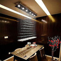 Sell Like Hot Cakes LED K9 Crystal Chandelier Restaurants Rectangular Pendant Lamp Luster GU10 Light 110V