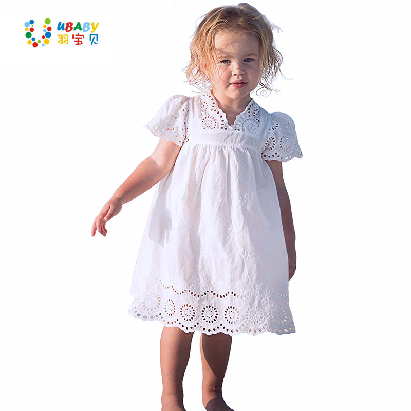 Cotton Lace Girl Dress Kids 2017 Sommer Nytt Brodert Barn Klær White Lace Princess Koreansk Cute Tynn Kjole Størrelse 100-140