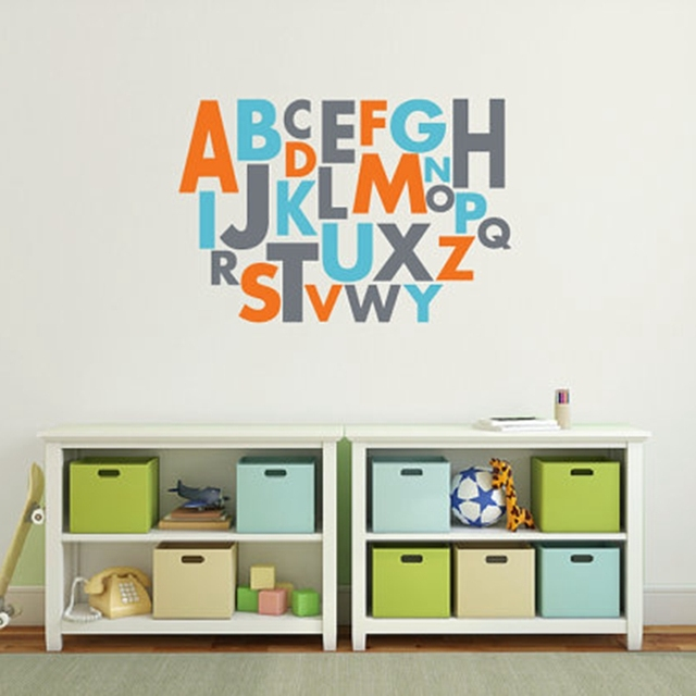 free shipping large size wall art decal vinyl alphabet sticker ,kids