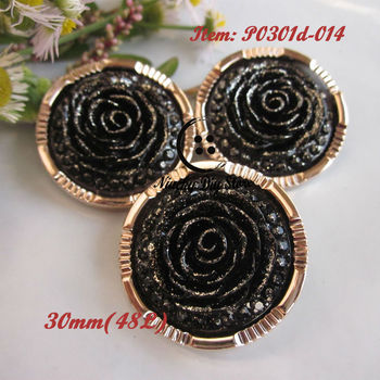 144pcs 30mm(48L) rose gold edge black rose flower lady coat buttons winter clothing accessories loose buttons wholesale