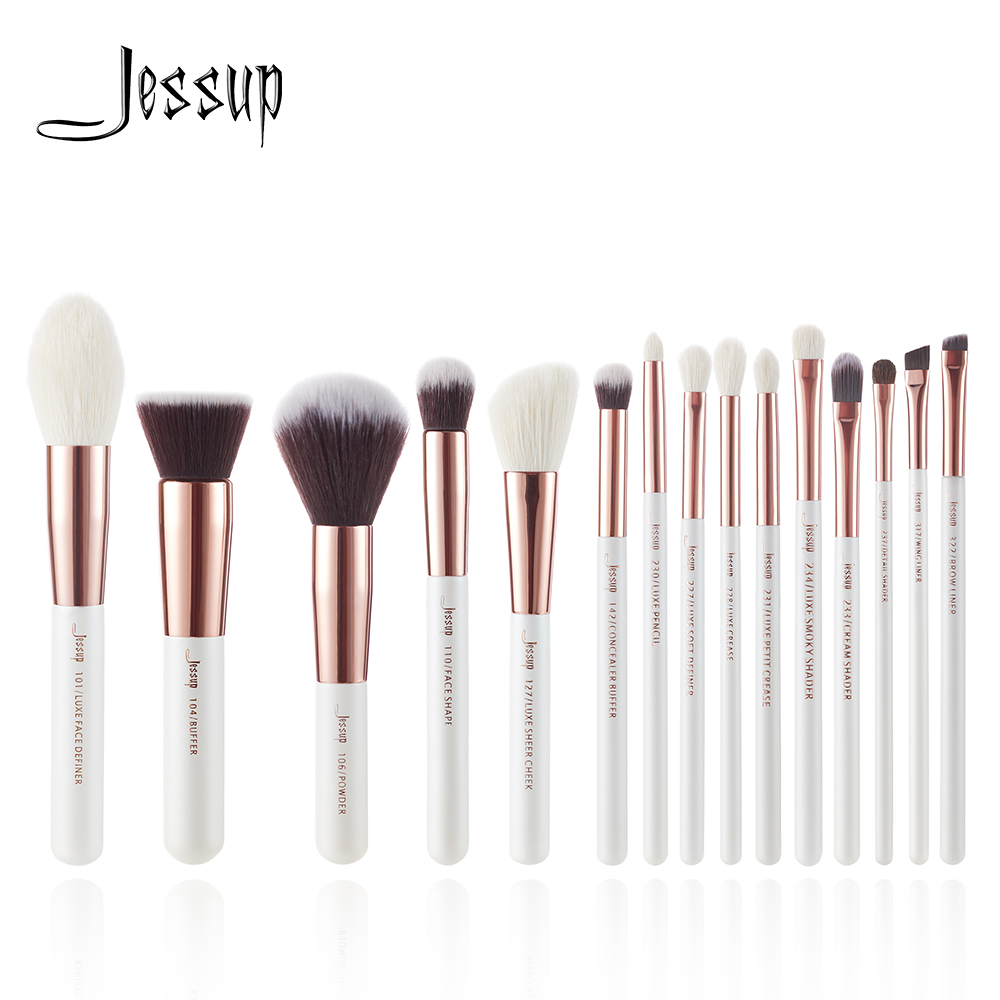 Jessup brushes Pearl White / Rose Gold Professional Makeup Brushes Set Make up Brush Tool Foundation Powder Definer Shader Liner-in Eye Shadow Applicator from Beauty & Health