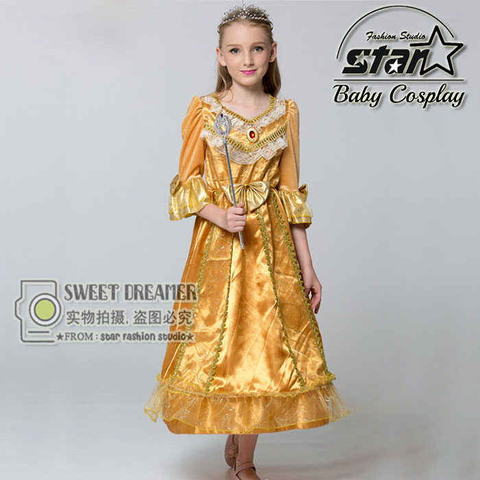 Beauty and Beast Cosplay Princess Belle Girls Fancy Dress Halloween Costumes for Children Golden Queen Carnaval Cute nnw beauty and the beast belle cosplay princess fancy kids costumes grils yellow dresses with sleeve hight quality