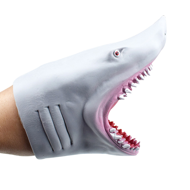 Soft TPR Blue Vividly Shark Hand Puppet Gloves Children Kids Toy Model Gift