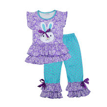 hot deal buy easter day new girls spring clothes lovely bunny pattern t-shirts colorful ruffle polka dot pants children clothing set e009