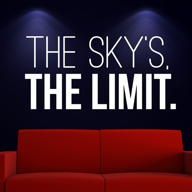 The skys the limit quotes wall sticker white design pvc removable home decor for living room