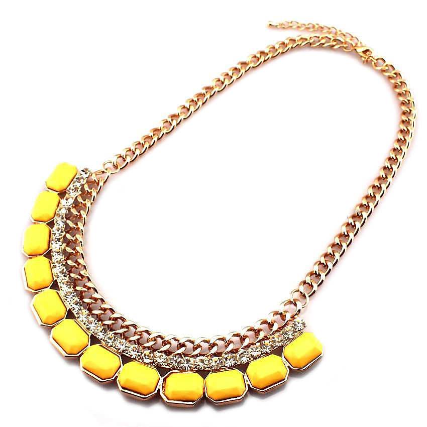 MANILAI Western Style Statement Chokers Necklaces with Rhinestones Resins For Women Collar Necklaces Fashion Jewelry CE405