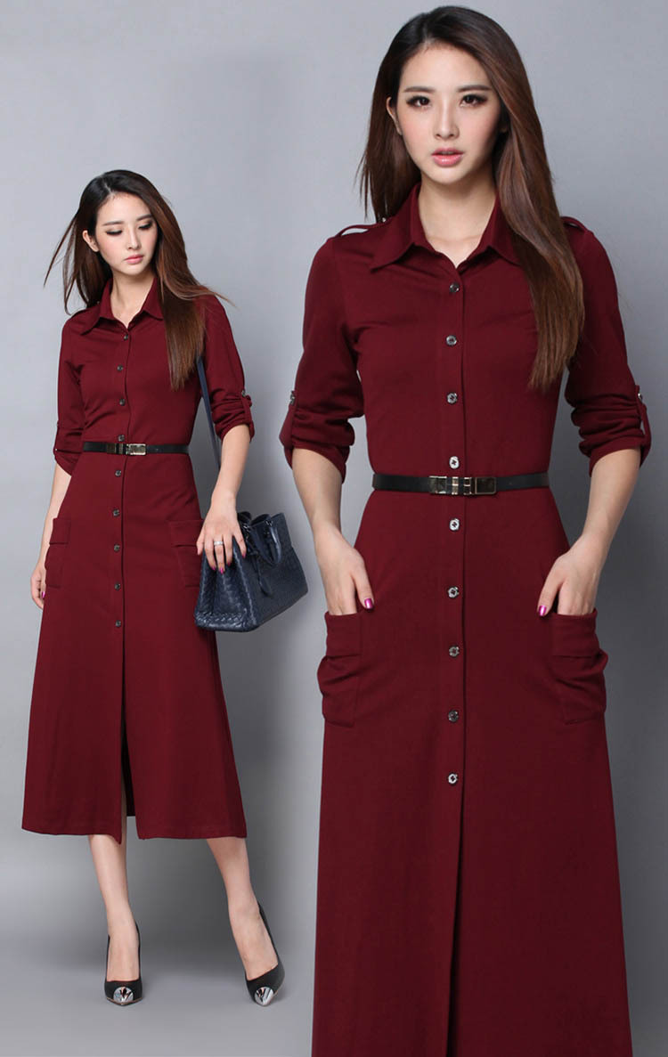 41fc1bc13e53 2018 New Winter Long Casual Dress for Women Long Sleeve Cotton Plus Size  Full Length Woman Evening office dress Vestidos Red-in Dresses from Women's  ...