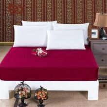 Beddingoutlet funda de colchón sábana ajustable ropa de cama hoja de cama ropa de cama de color sólido vino rojo protector de colchón de algodón 3 tamaño caliente